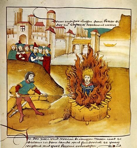 Upálení kazatele na koncilu v Kostnici. Ještě před ním stihne Hus ve svých listech poděkovat svým příznivkyním za pomoc.