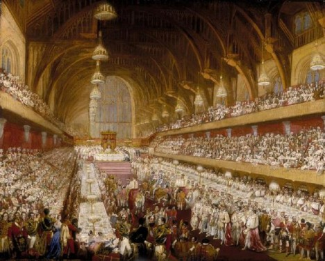 V roce 1821 se ve Velkém sále paláce koná recepce na počest korunovace britského krále Jiřího IV.