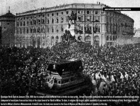 Verdiho pohřeb se stává obrovskou manifestací. Zemřel miláček národa.
