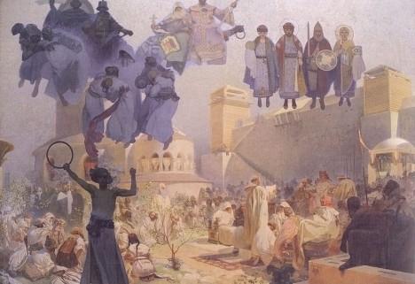 Zavedení slovanské liturgie na Velké Moravě. Na svědomí ho má právě věrozvěstv Metoděj se svým sourozencem.
