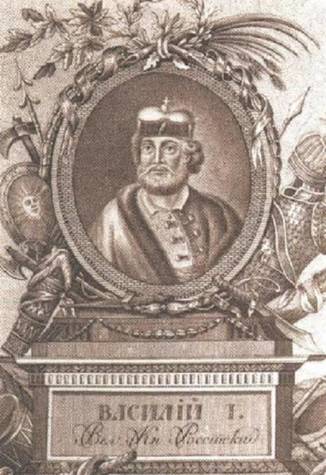 Moskevský velkovévoda Basil I. doufá, že ikona mu pomůže v boji proti Mongolům.
