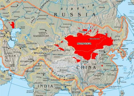mapa mongolove