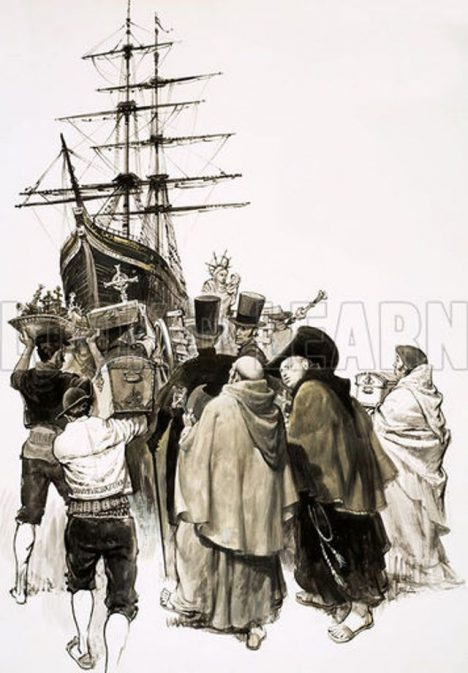 The Treasure-Hunters: The Lima Millions. In 1823, the Mary Dear was filled with gold from Peru and Spanish nobles - only to be murdered by William Thompson, the captain of the ship, and his crew. Original artwork from Look and Learn no. 457 (17 October 1970).
