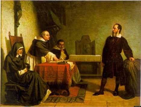Toskánský astronom Galilei čelí nařčení římské inkvizice.