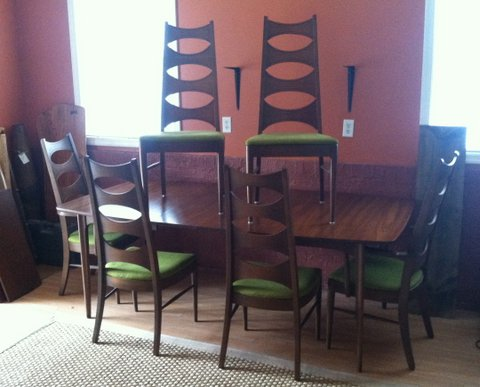 mid-century dining table & chairs by Kent Coffey