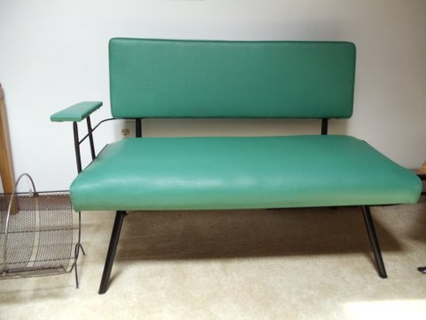 mid-century modern teal bench