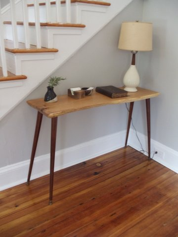 foyer table with live edge and McCobb Legs