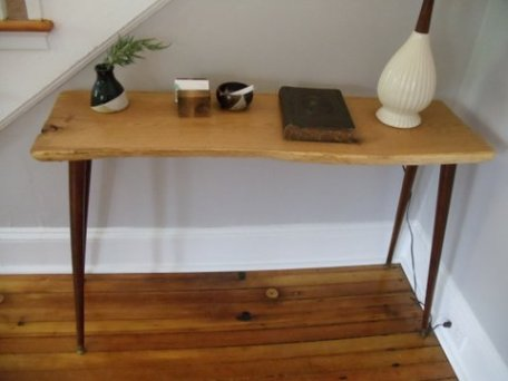 console table with natural edge oak slab