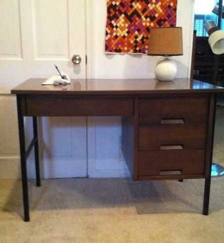 mid-century modern walnut industrial desk