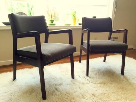 Walnut Framed Mid Century Armchairs By Alma Desk Company