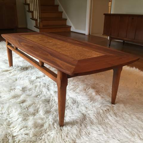 Mid Century Modern Coffee Table With Burlwood Inlay By Lane