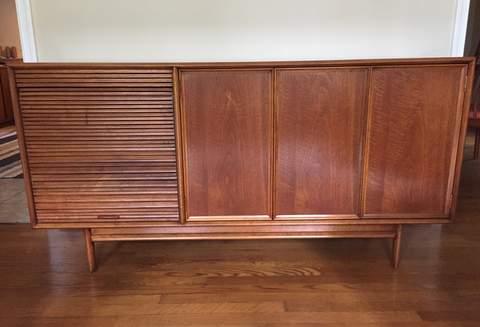 mid century modern credenza Drexel furniture tambour door album storage