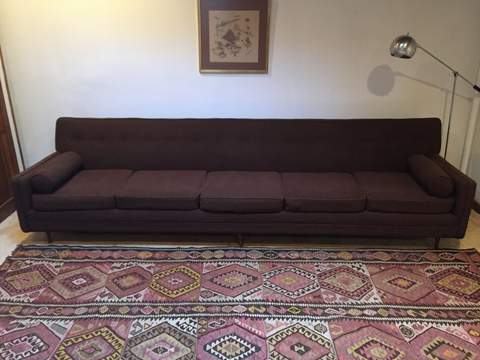 mid century modern chocolate brown sofa five seats
