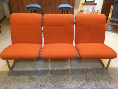 industrial vintage tangerine bench chrome frame