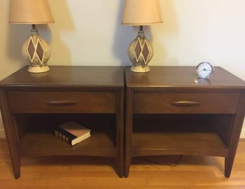 mid century modern walnut nightstands broyhill emphasis