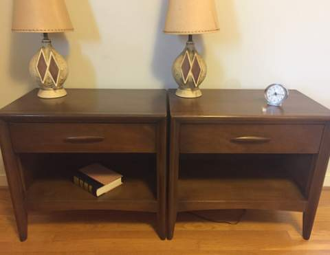 mid century modern walnut nightstands broyhill emphasis