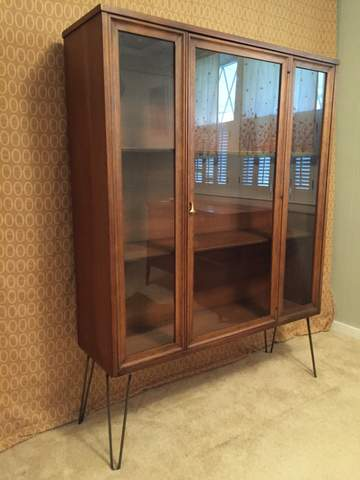 Mid Century Modern Glass Fronted Display Cabinet By