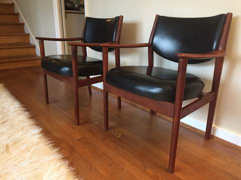 mid century modern walnut framed lounge chairs