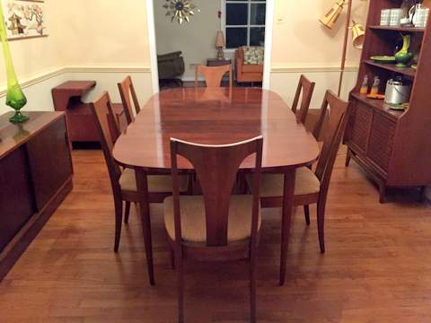 mid century modern broyhill emphasis dining table & chairs