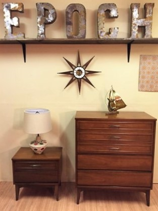mid century walnut highboy dresser and nightstand by Dixie Elgin wall clock