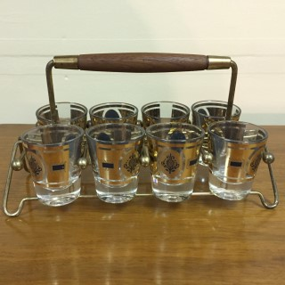 vintage mid century shot glass set wire caddy