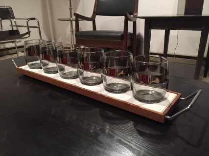 vintage set of 8 lowball glasses with wood tray