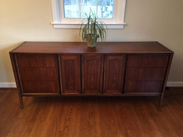 mid century modern walnut triple dresser thomasville
