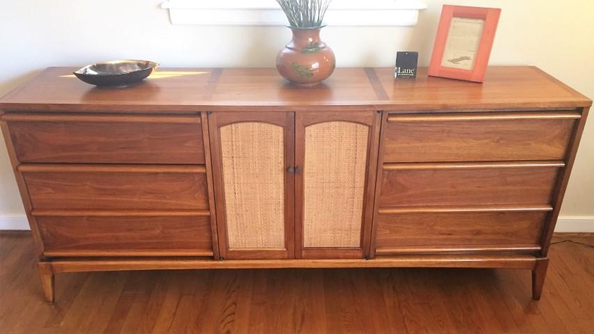 mid century modern walnut triple dresser lane rhythm
