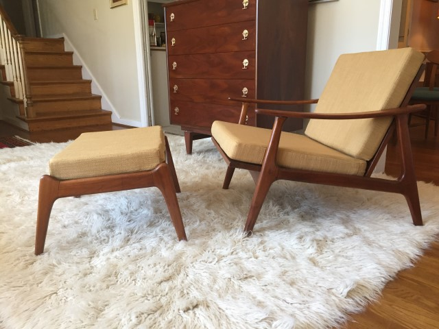 mid century modern walnut lounge chair ottoman restored
