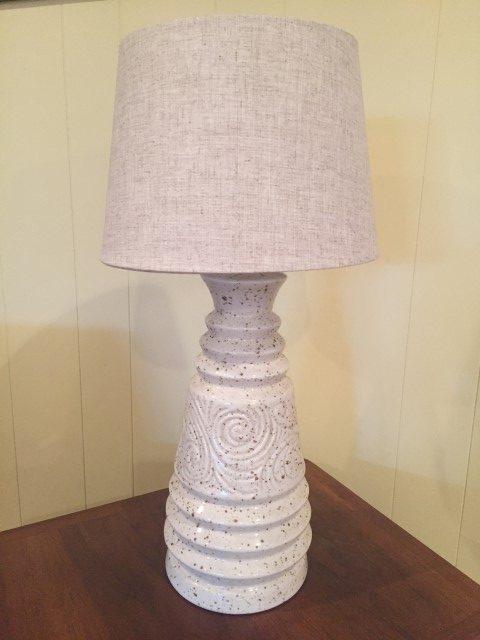 Pair Of Vintage Cream Ceramic Table Lamps Epoch
