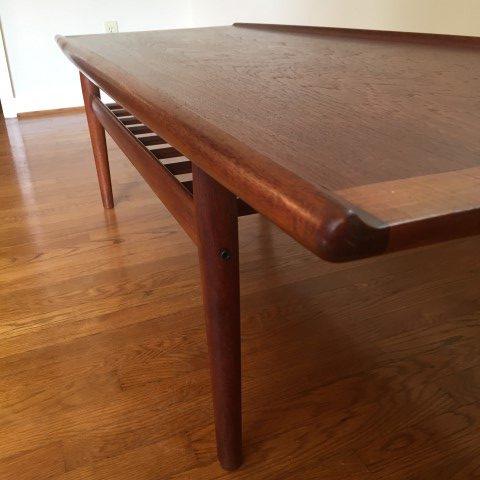 danish modern mid century teak coffee table