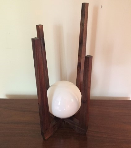 hand crated walnut table lamp mid century modern style