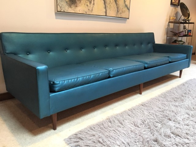 Mid Century Modern Sofa In Teal Naugahyde Epoch