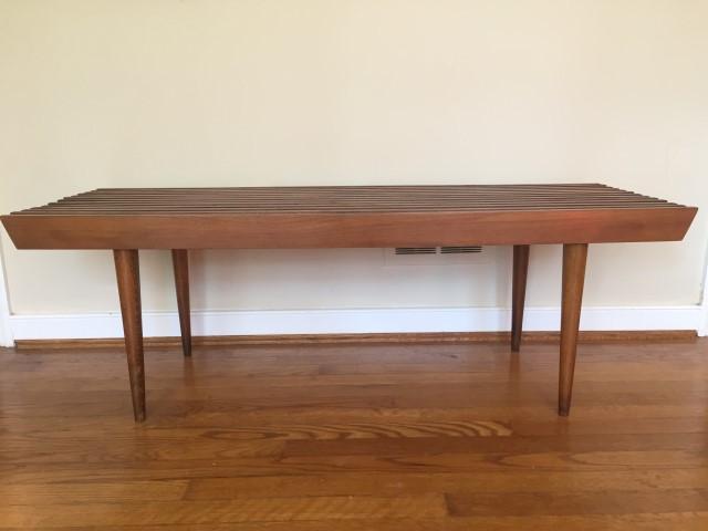 mid century modern wood slat coffee table yugoslavia