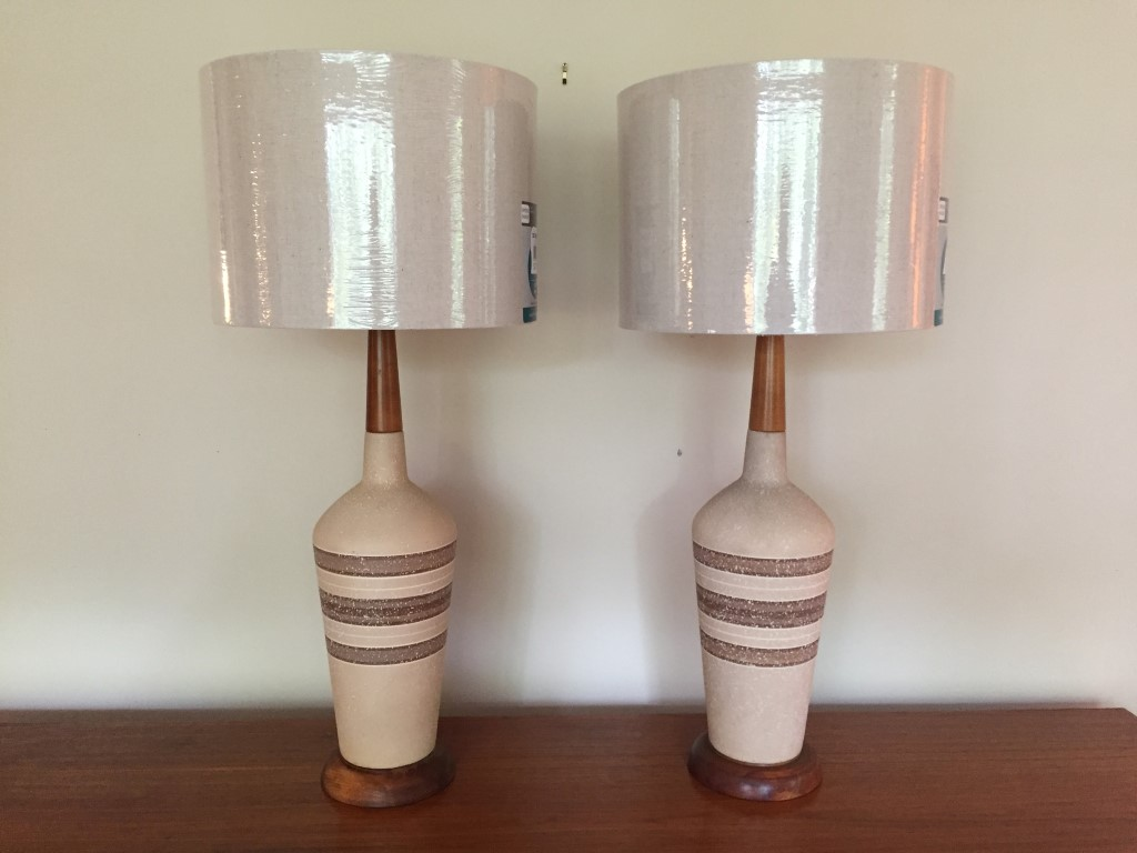 mid century modern ceramic lamps walnut accents
