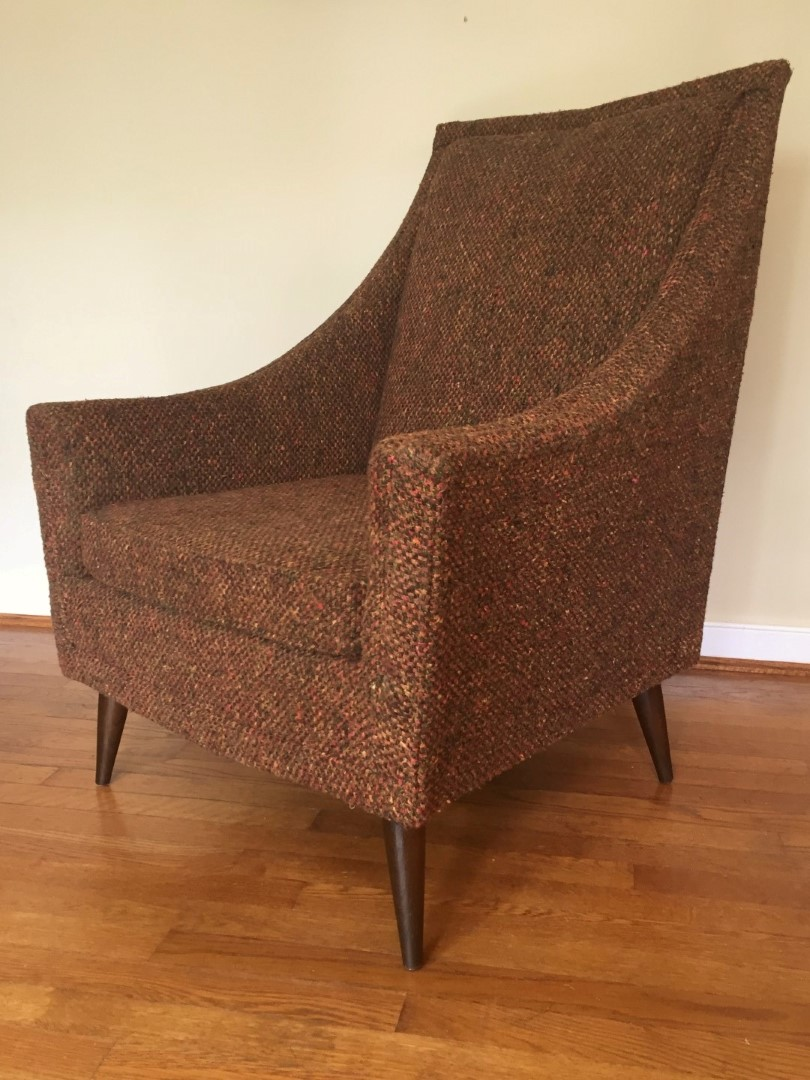 Mid Century Modern Pair Of Upholstered Lounge Chairs EPOCH