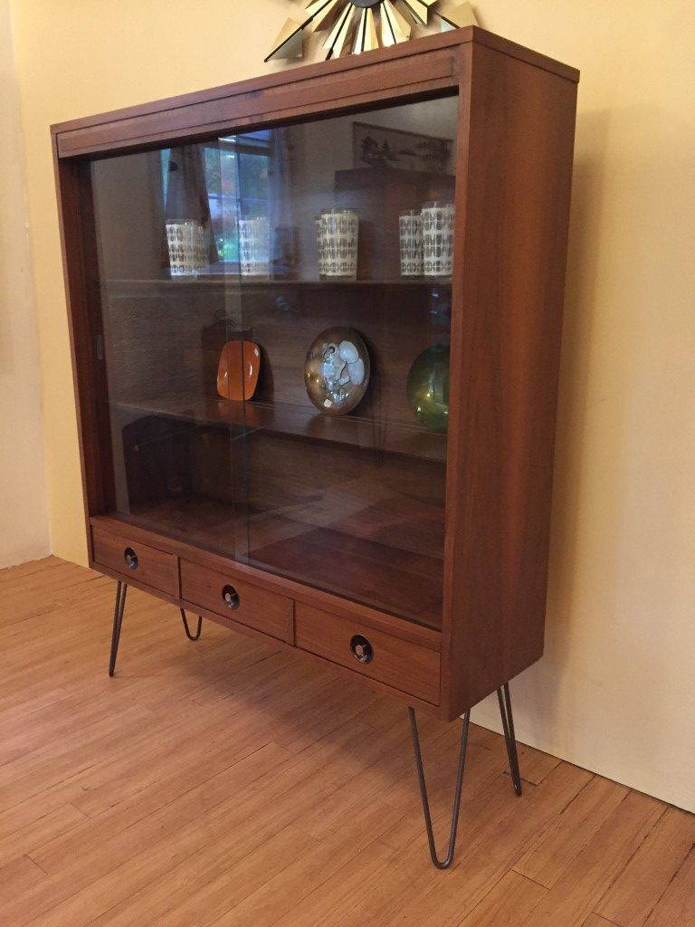 Mcm Glass Fronted Walnut Display Cabinet With Drawers By
