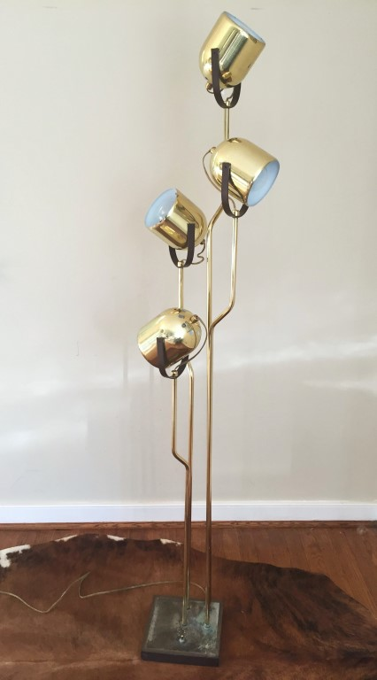 mid century modern brass floor lamp with multi directional cones