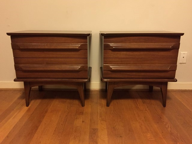 mid century modern nightstands with 2 drawers by United