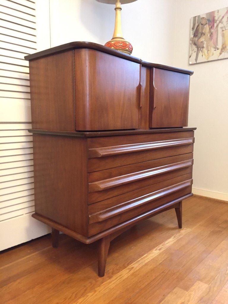 mid century modern gentlemans chest high dresser United
