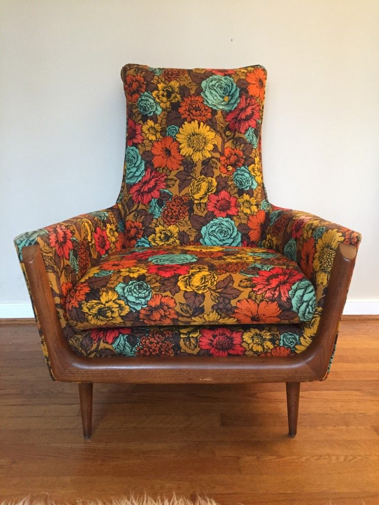 vintage mid-century flower print arm chair in the style of adrian pearsall