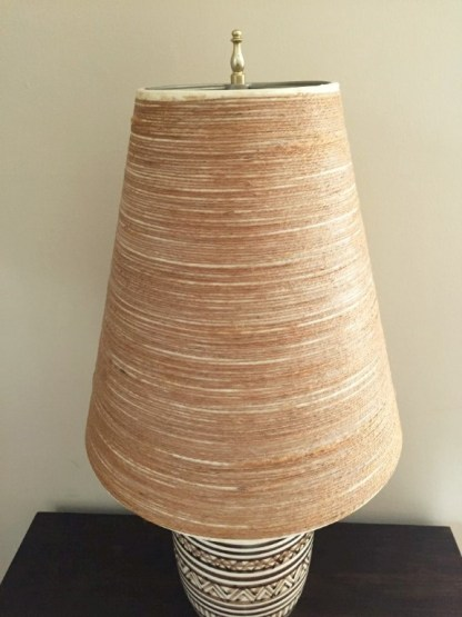Lotte and Gunnar Bostlund Stoneware Table Lamp With Original Fiberglass and Jute Shade