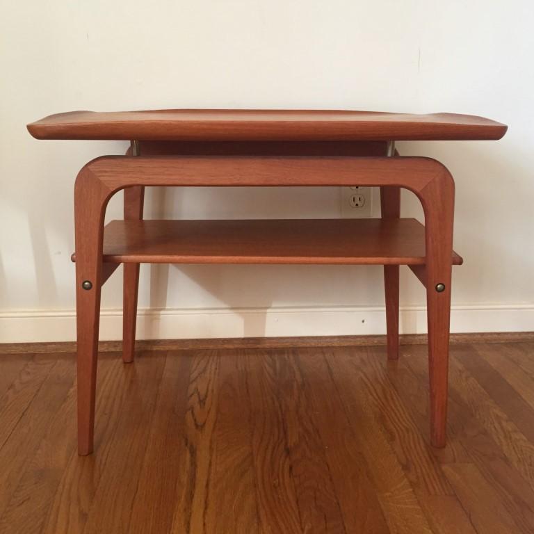 mid century Danish modern solid teak floating side end tables arne hovmand olsen