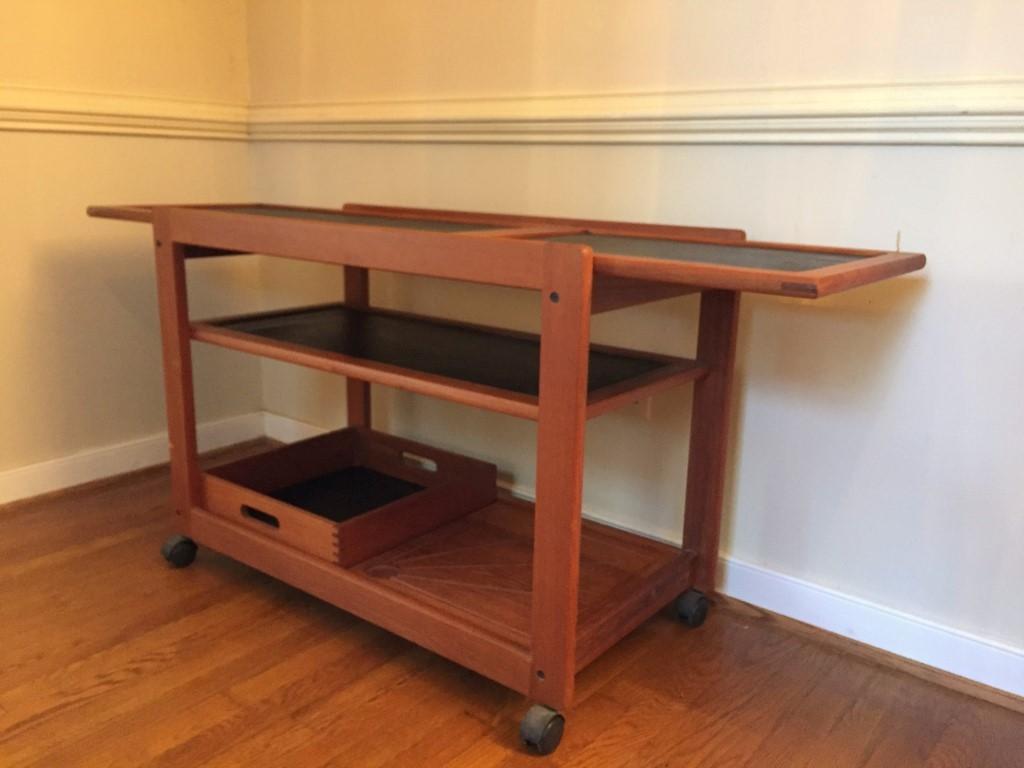 vintage danish modern teak rolling bar cart
