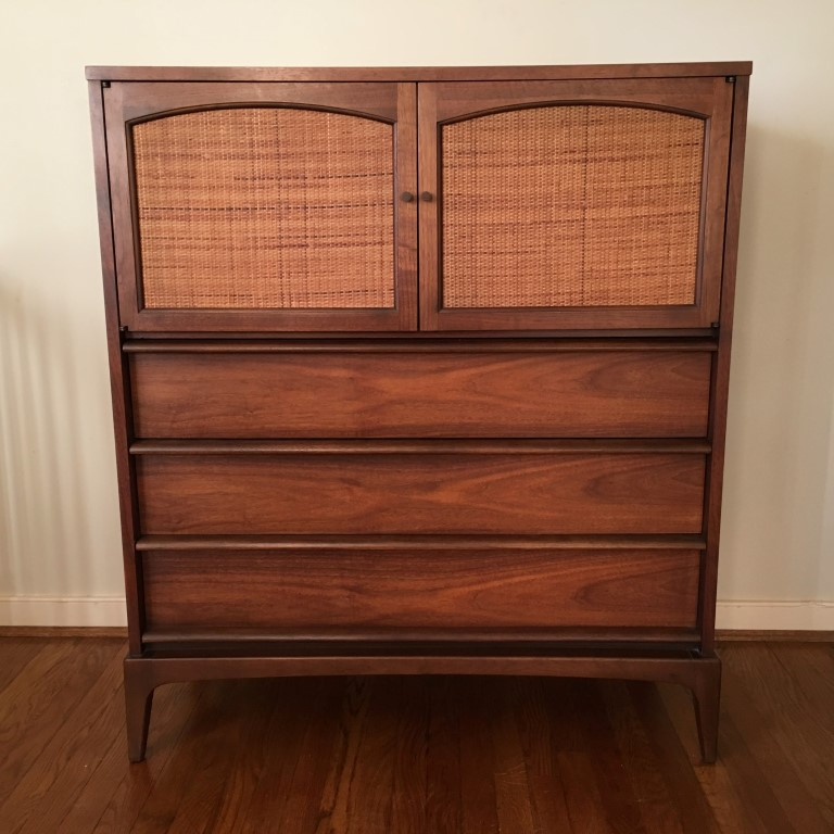 Lane Rhythm chest high dresser walnut rattan