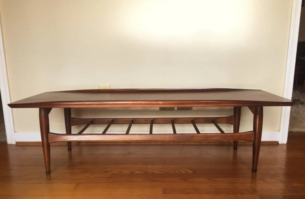 mid century modern walnut coffee table Bassett Artisan