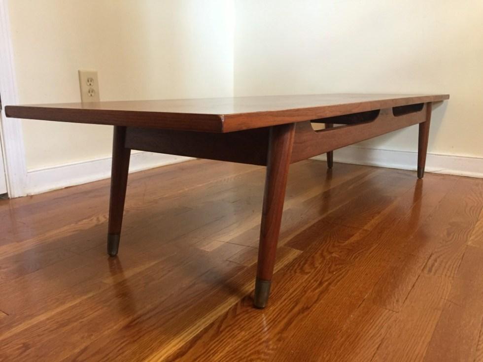 mid century modern walnut bench