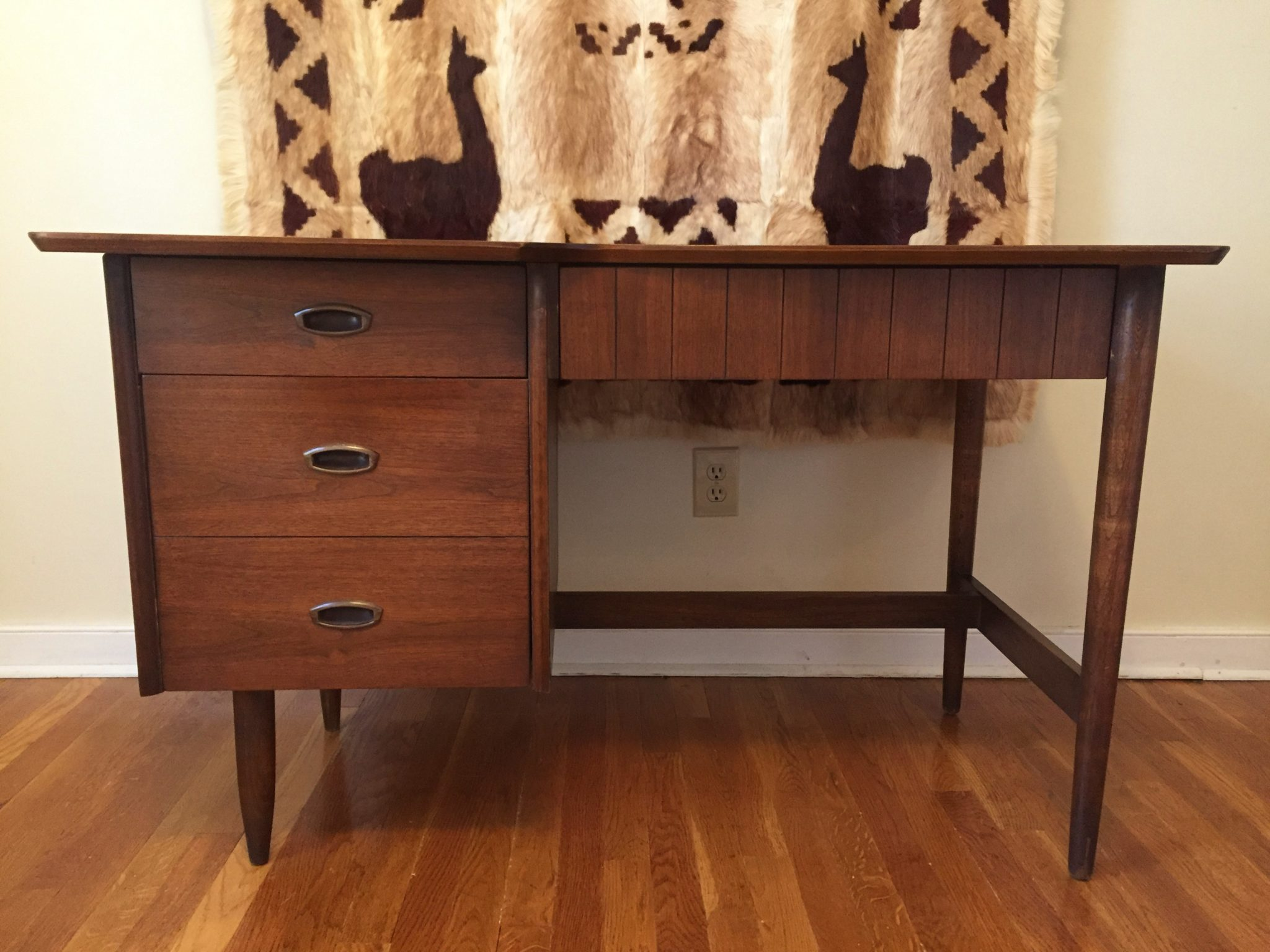 mid century modern walnut knee hole desk