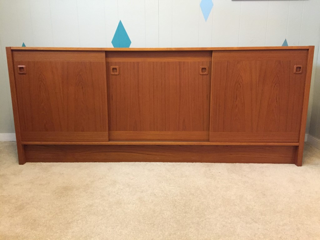 Danish modern teak credenza album storage Clausen & Sons