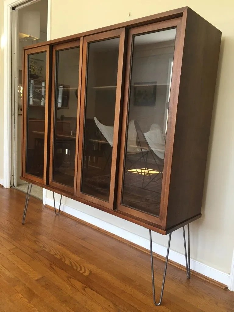 mid century modern glass fronted display cabinet